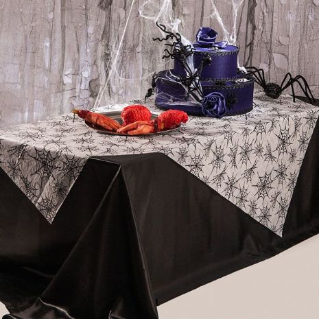 Tablecover with Spider Webs 175 x 130cm Halloween Bug Trick Or Treat